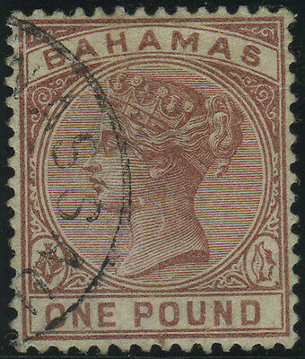 Bahamas, SG 57, 1884 £1 Venetian red very fine used, a lovely example, Cat £225.