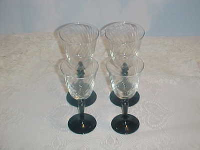 Cristal D'Arques Durand Crystal Onxy Wine and Water  Goblet Set