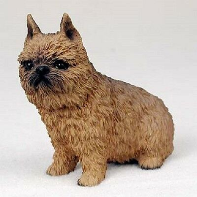 BRUSSELS GRIFFON Dog HAND PAINTED FIGURINE Statue COLLECTIBLE red brown Puppy