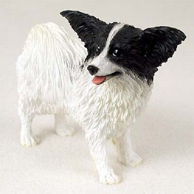 PAPILLON Dog HAND PAINTED FIGURINE Resin Statue COLLECTIBLE Black White Puppy