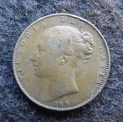 1840 Victoria Copper Farthing Coin Britiish Coins  more pics in description.
