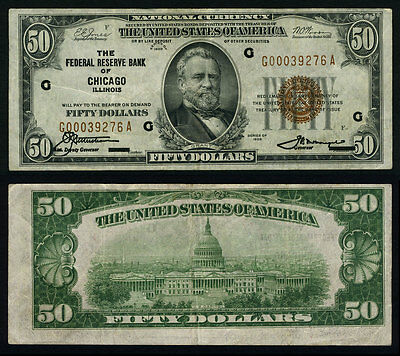 FR. 1880 G $50 1929 Federal Reserve Bank Note Chicago Error? Very Fine