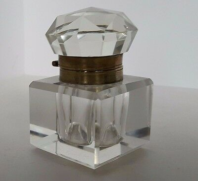 Antique Cut Crystal Inkwell & Faceted Cap