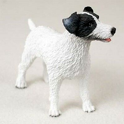 JACK RUSSELL dog HAND PAINTED FIGURINE Resin B&W ROUGH COAT Black White Puppy