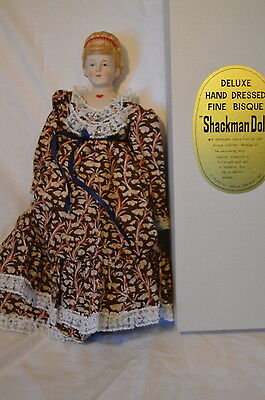 """18"""" Shackman Doll Deluxe Hand Dressed Fine Bisque Japan Brown Dress Blue Ribbon"""