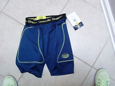 NWT Louisville Slugger women's sz S padded sliding shorts blue/yellow softball