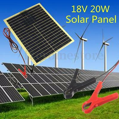 20W 18V Epoxy Solar Panel + 2m Cable & 30A Clip for Camping 12V Battery Charger