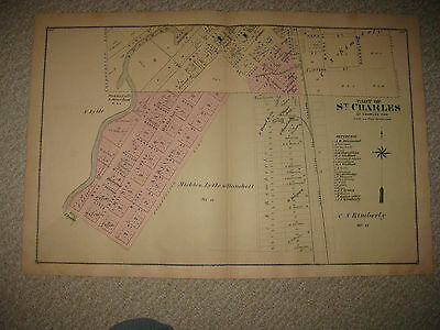 Antique 1877 St Charles Saginaw County Michigan Handcolored Map North Part Rare
