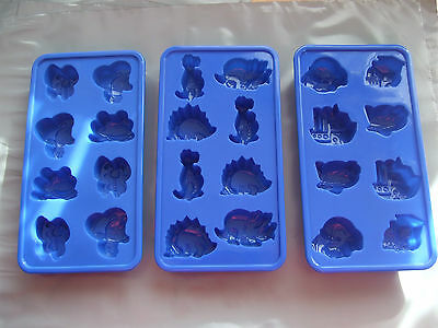 Silicone Mould x 3- Car, Boat, Train, Plane, Dinosaur, Bee,frog- Chocolate/ Ice