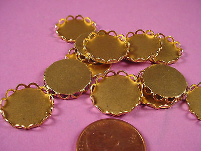 Brass Round Lace Edge Bezel Settings 15mm - 16 Pieces