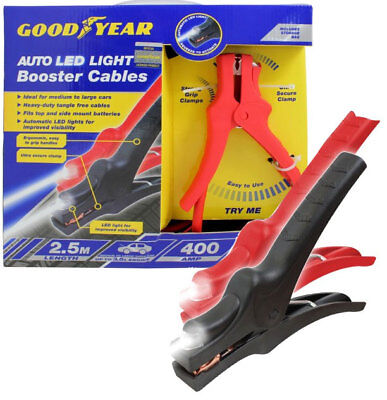 GOODYEAR 400AMP 2.5m Auto LED Light Booster Cables Flat Battery Emergency Heavy