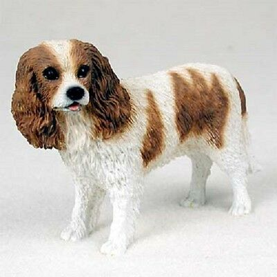 CAVALIER KING CHARLES Dog HAND PAINTED FIGURINE Resin COLLECTIBLE brown SPANIEL