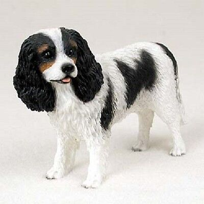 CAVALIER KING CHARLES Dog HAND PAINTED FIGURINE Statue COLLECTIBLE black puppy