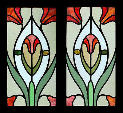 The Very Best Art Nouveau Floral Lillies Antique English Stained Glass Windows • CAD $2,645.24