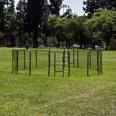 Lot 2 Cage Pet Puppy Dog Run Barrier Fence Play Pen Kennel Steel Panel playpen
