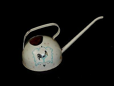 Vtg Ohio Art Watering Can Metal Tin Litho Roosters Pink Turquoise Aqua