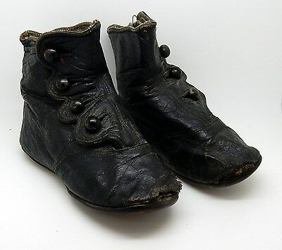 Antique Black Leather Button Up Baby / Childs Shoes