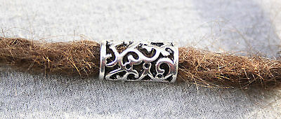 6 Tibetan Style Silver Dreadlock Hair Beads 8mm Hole (5/16 Inch) Viking