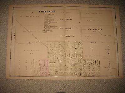 Superb Antique 1877 Chesaning Saginaw County Michigan Handcolored Map Rare Nr