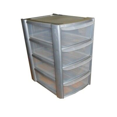 4 Tier Mini Storage Tower 4 Drawers Silver Frame Clear Drawers Plastic NEW