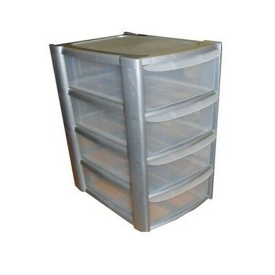 Storage Drawer Tower 4 Drawers Silver/Clear Plastic