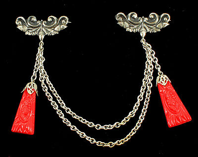 """Antique Deco Czech Silver Plate And Red Glass Carved Drops Chain Swag Pin Set 5"""""""