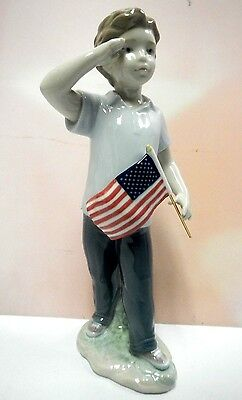 Saluting The Flag Boy With American Flag By Lladro   #8578