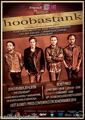 HOOBSTANK 2014 SINGAPORE CONCERT TOUR POSTER- Post-grunge, Alt. Rock/Metal Music