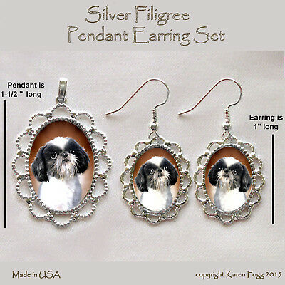 SHIH TZU JAPANESE CHIN DOG Shih-Chin - Filigree PENDANT EARRING Set