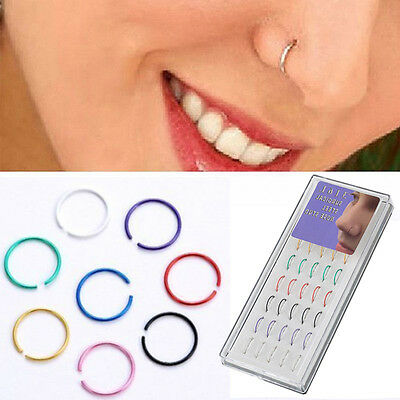 40pcs Stainless Steel Nose Studs Hoop Ring Earring Body Piercing Studs Jewelry