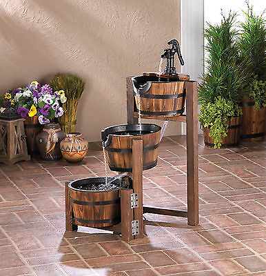 Apple Barrel Cascading Three Tiered Outdoor Garden Patio Fountain # 1017256