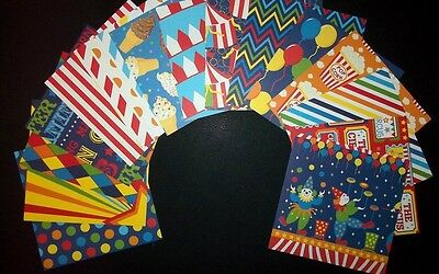 "15 *CARNIVAL* Bright & Fun Scrapbooking/Cardmaking Papers - 15cm x15cm (6"" x 6"")"