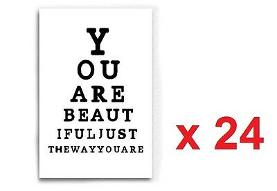 Wholesale Job Lot 24 x Chic Canvas Wall Art Eye Test You Are Beautiful 40 x 60cm