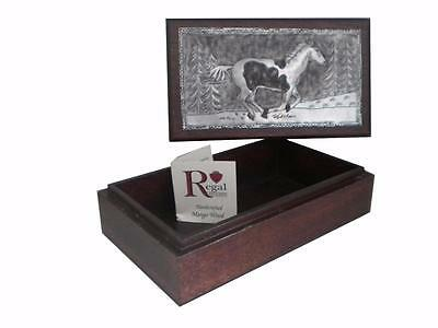 Vtg Regal Hand Tooled Hammered Aluminum Horse Jewelry Trinket Box Mango Wood