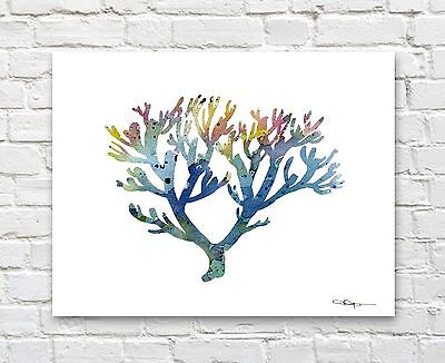 Blue Coral Abstract Watercolor Painting Art Print by Artist DJ Rogers