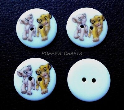 4 x LION KING SIMBA & NALA RESIN 23mm 2 HOLE SEWING BUTTONS - crafts