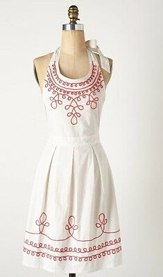 NWT Anthropologie Loop-Di-Loop Apron in Coral and White