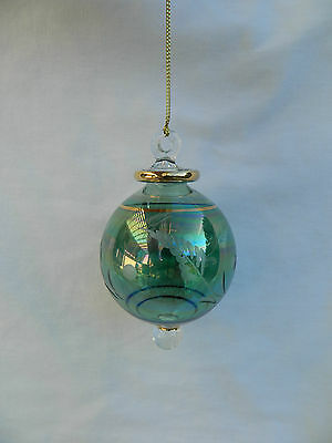 """Egyptian Hand Blown Fancy Etched Ball Glass Christmas Ornament Gift 3.75"""" #643"""