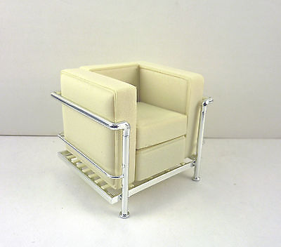 Dollhouse Miniature Reac Modern Chair White Cube Chair, REC 091