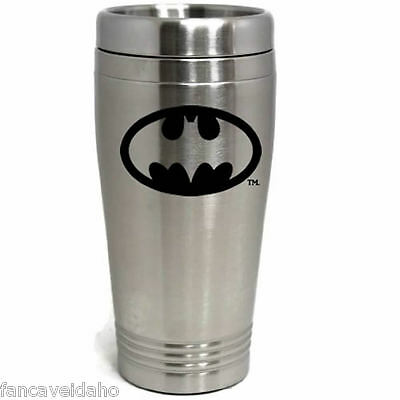 DC Comics Batman Stainless Steel Black Logo Travel Mug Tumbler Cup