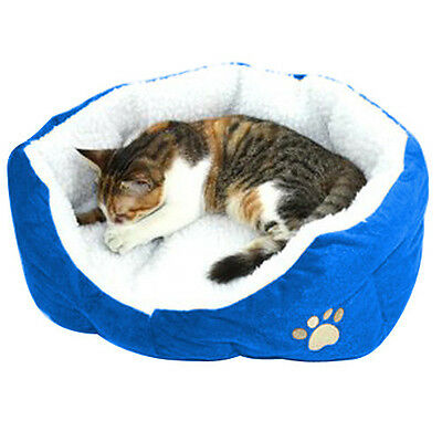 Soft Medium Comfy Washable Fleece Dog Pet Cat Bed Warm Basket Blue