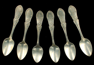 Antique Victorian 19th Century Sterling Silver Set of 6 Teaspoons J.B. Kirby USA