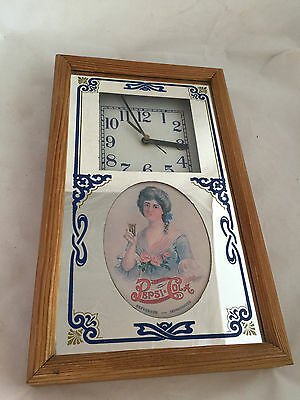 80's Pepsi-Cola Mirror Wall Battery Operated Clock Wood Framed Great Shape 15""