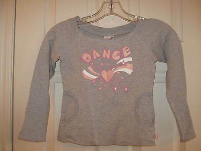 "NEW Gray Capezio Dance Top, w/ pink & white ""DANCE"" Youth size Med - w/ tags"