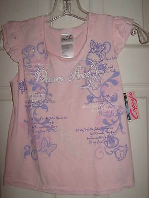 "NEW Light Pink Capezio Dance Top, ""Dance Free"" Child size Med - w/ tags"