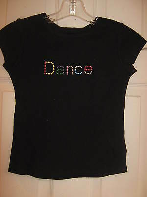 """NEW Black Dance top from 3 Pearls, colorful """"DANCE"""" Child size small w/ tags"""