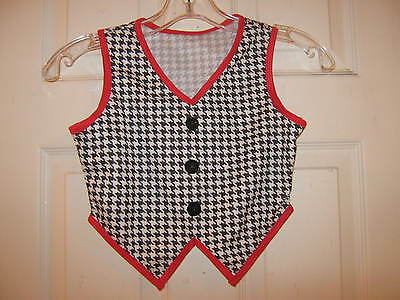 NEW Black, White & Red Dance Vest boys or Girls - Child size small Curtain Call