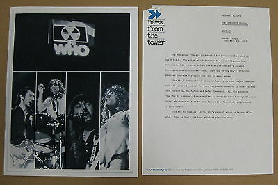 The WHO By Numbers 1975 US PROMO Press Release + BOOKLET Incredible! MOD
