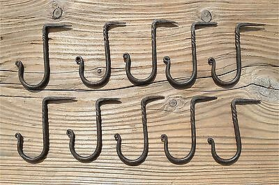 Set of 10 large twisted wrought iron medieval hanging hooks dresser hook MM3