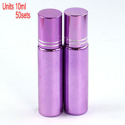50 Pcs Small 10ML Empty Perfume Roll on Roller Metal Ball Glass Bottle& Purple